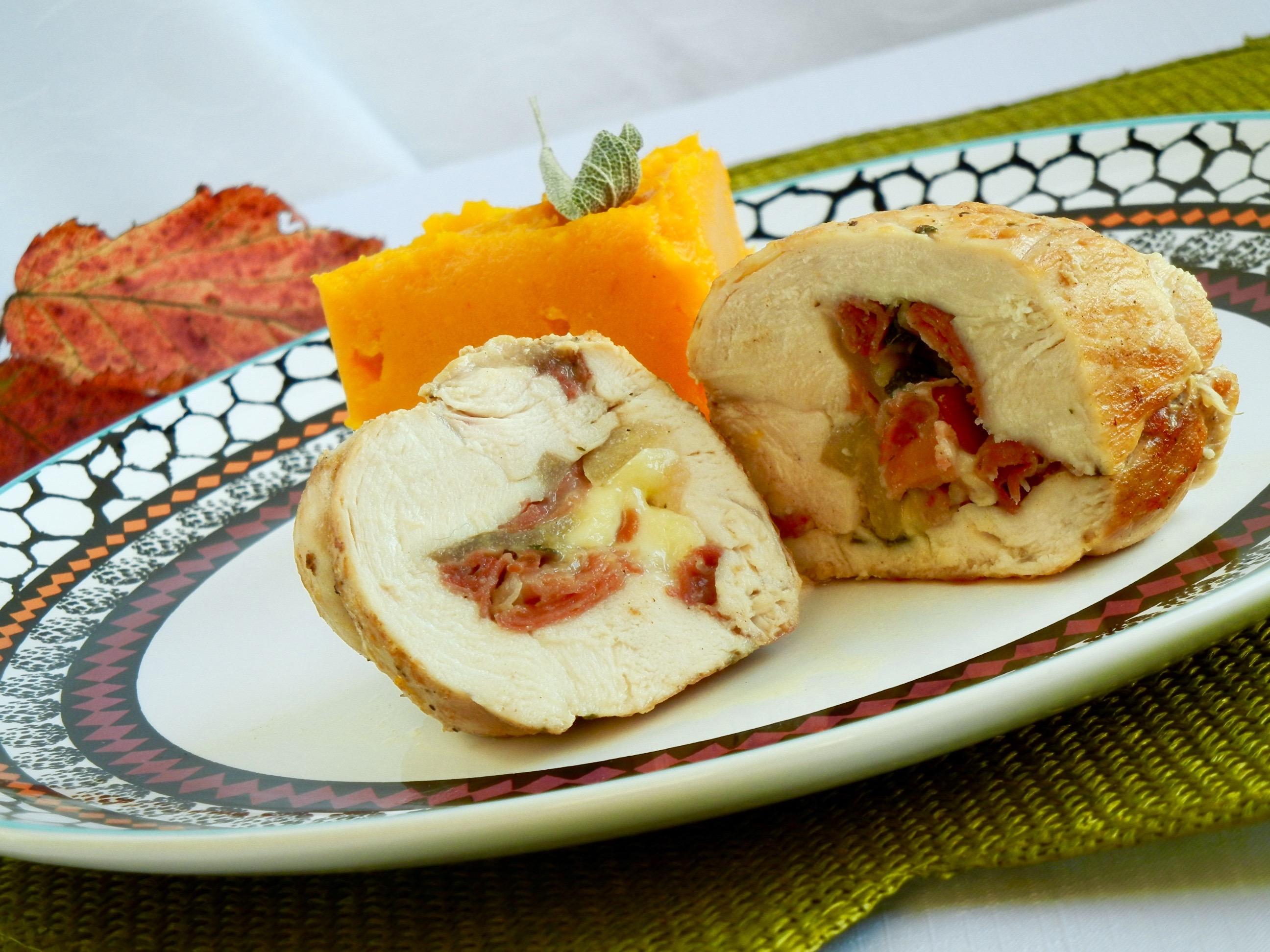 Kuracie prsia plnené hruškou, prosciuttom a syrom Brie