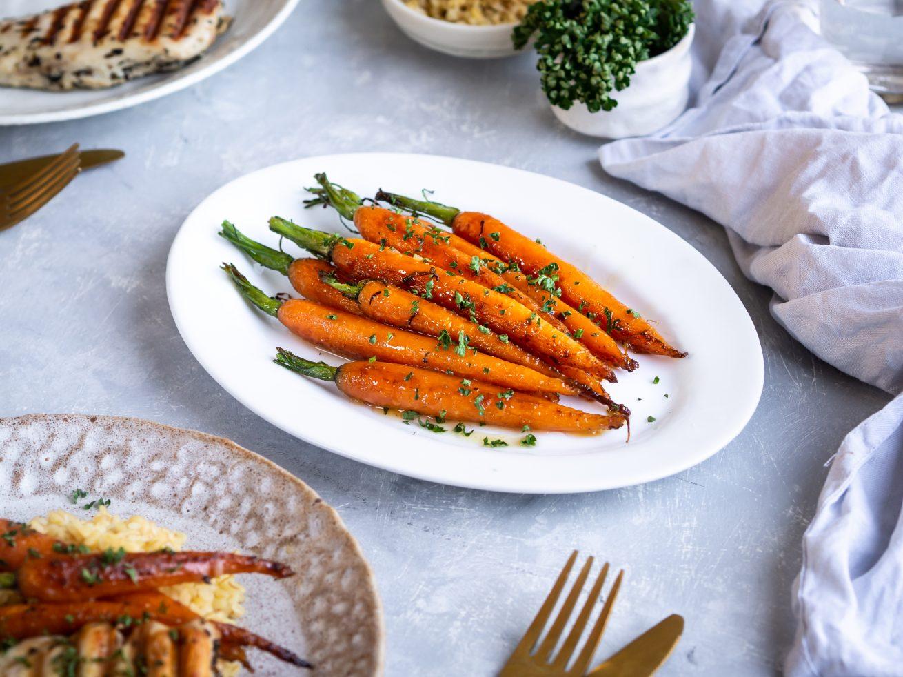 glazovaná mrkva, príloha, steak