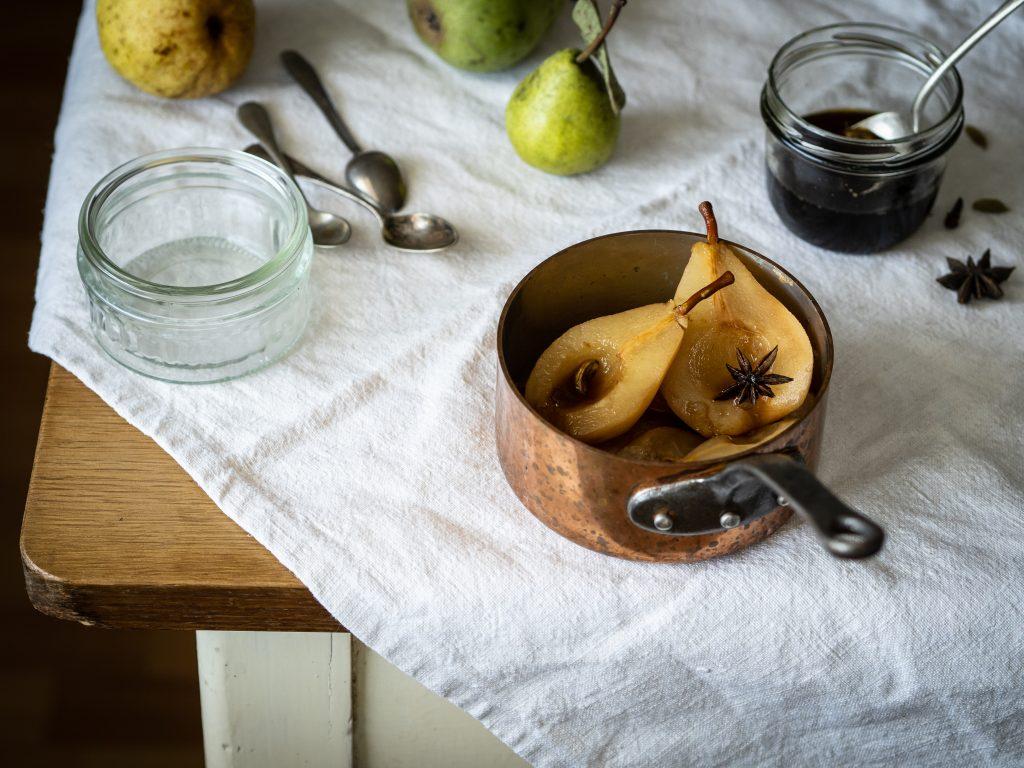 hrušky, rajnica, sirup, jeseň, dezert