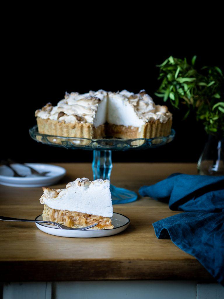 koláč, tart, sneh, jablkový koláč s penou